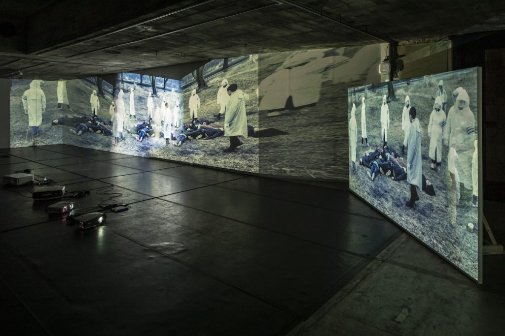 "Installation view of the exhibition ""We Mourn the Dead of the Future"" at Kitasenju BUoY, photo: Kenji Morita"